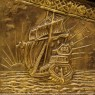 Старинный Деревянный Сундук «Корабли» в Латунном окладе, Чеканка, Голландия первая половина ХХ века.