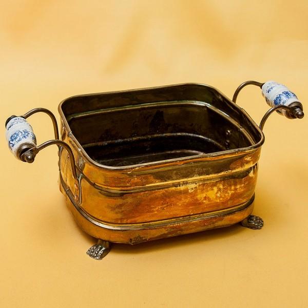 Малый Винтажный Декоративный Зольник - Кашпо с Фарфоровыми ручками Англия ХХ век