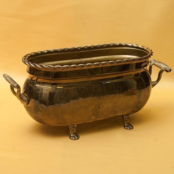 Винтажный Овальный Латунный Зольник или Кашпо, Франция середина ХХ века.