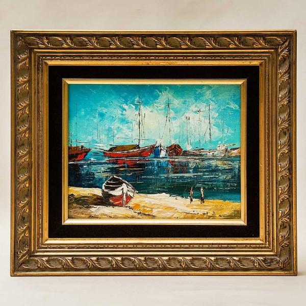 Художественная Картина Пейзаж «Лодки у берега». Франция, вторая половина ХХ века.