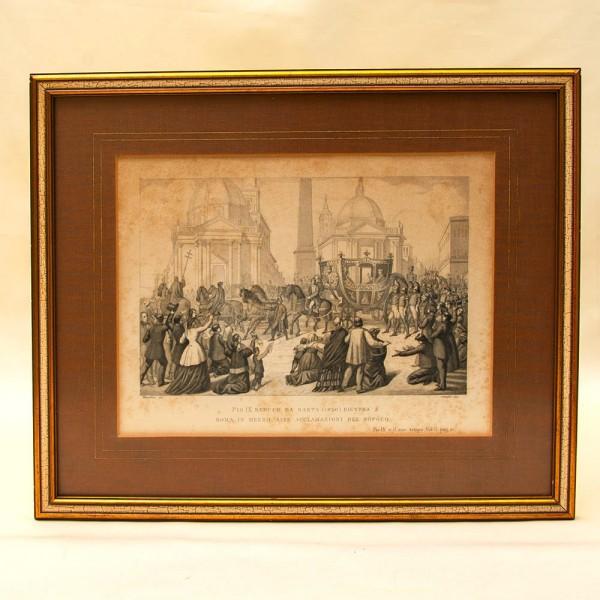 Старинная Гравюра «Папа Римский - Пий IX» в  рамке 38 см. х 32 см. - Рим - Италия.