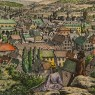 Старинная Цветная Гравюра «Вид с холма на Бармен» в  рамке 28 см. х 22 см. - Германия.