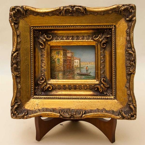 Картина - Пейзаж «Гондольеры Венеции» Доска, Масло. Германия 50 -е годы ХХ века.