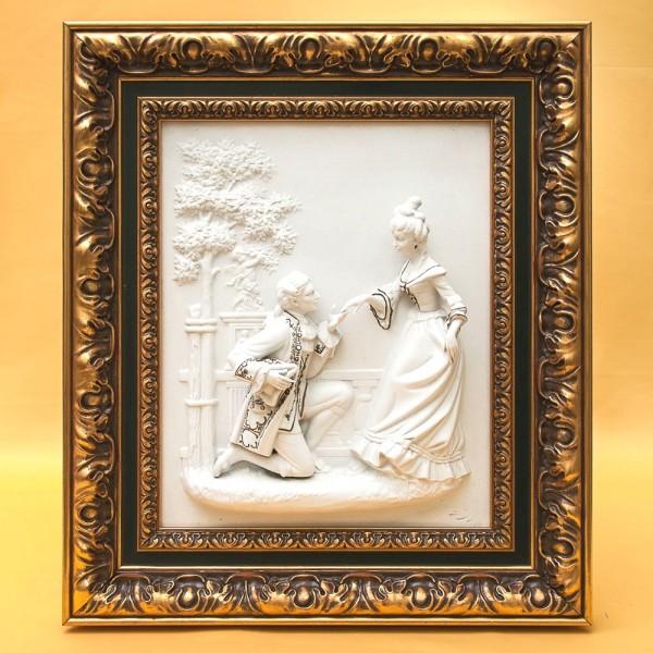 Фарфоровая Картина - Горельеф «Свидания  в Сан-Суси» - «Дама с Кавалером» - SANDIEZI, Германия 1951-60гг.