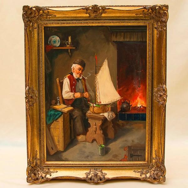Картина «Старый Моряк - Мечты о путешествии» Холст, Масло. Германия 50 -е годы ХХ века.