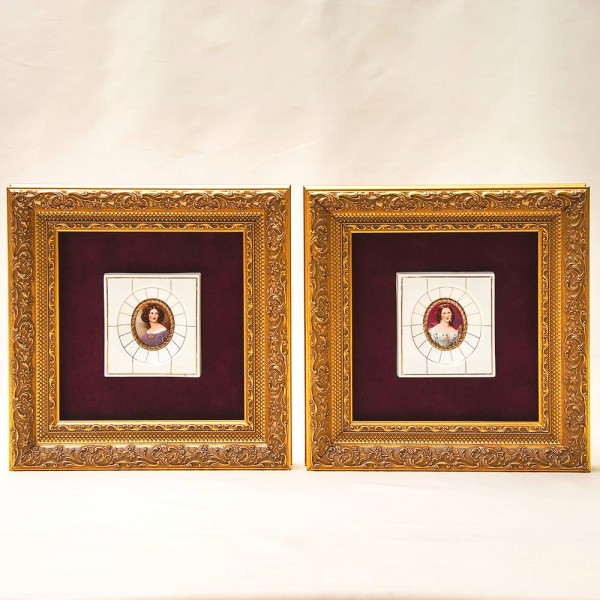 Две Фарфоровые Плакетки - Панно - Картины «Галерея Красавиц» HEINRICH Villeroy&Boch Германия.