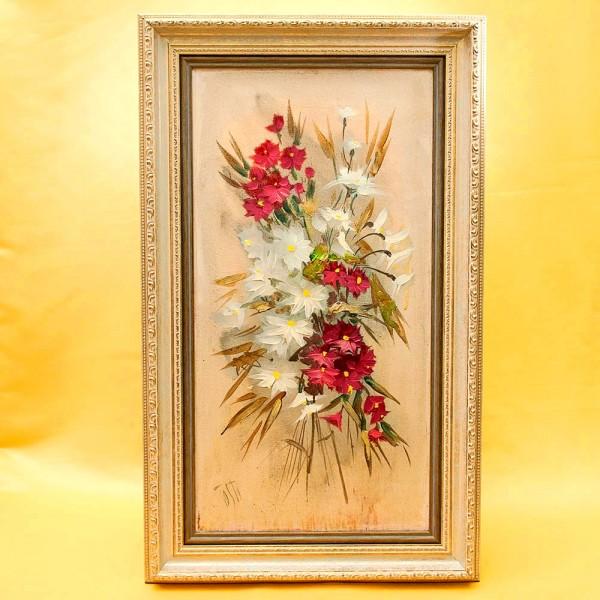 Картина - Натюрморт «Цветы Тосканы» Холст, Масло. Италия 50 -е годы ХХ века.