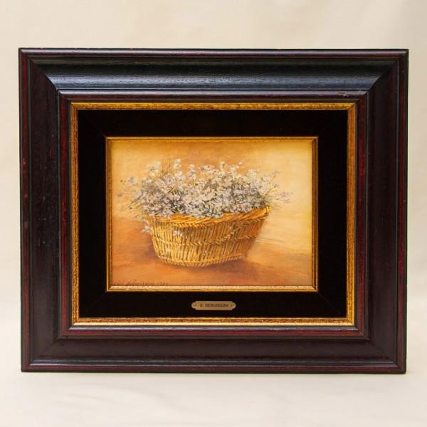 Картина - Натюрморт «Корзина с незабудками» Холст, Масло. Gioli Debusson Бельгия -1989 год.
