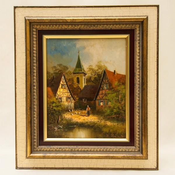 Картина - Пейзаж «Деревнский Двор» Холст, Масло. Германия 70 -е годы ХХ века.