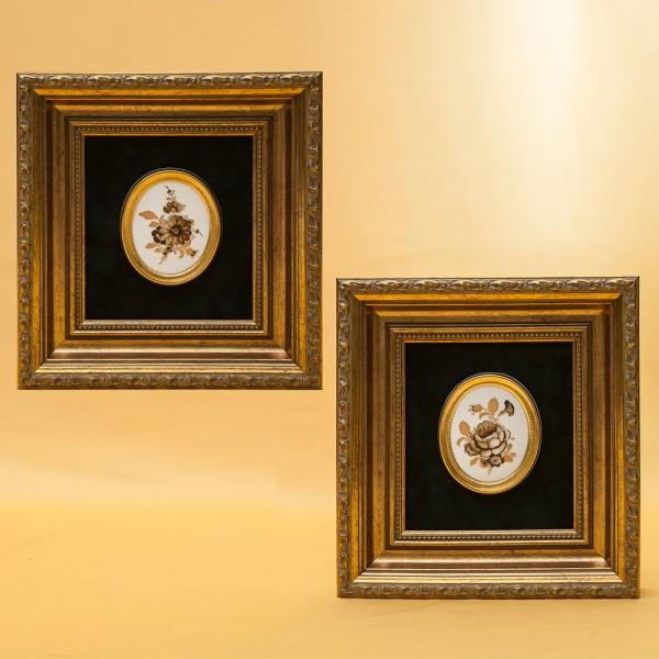 Пара Фарфоровых медальонов «Золотые Цветы» в изящном багете. Furstenberg, Германия 1951-60гг.