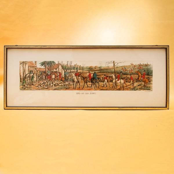 Старинная Цветная Гравюра «Окончание Охоты» в  рамке 62,5 см. х 24,5 см. - Англия.