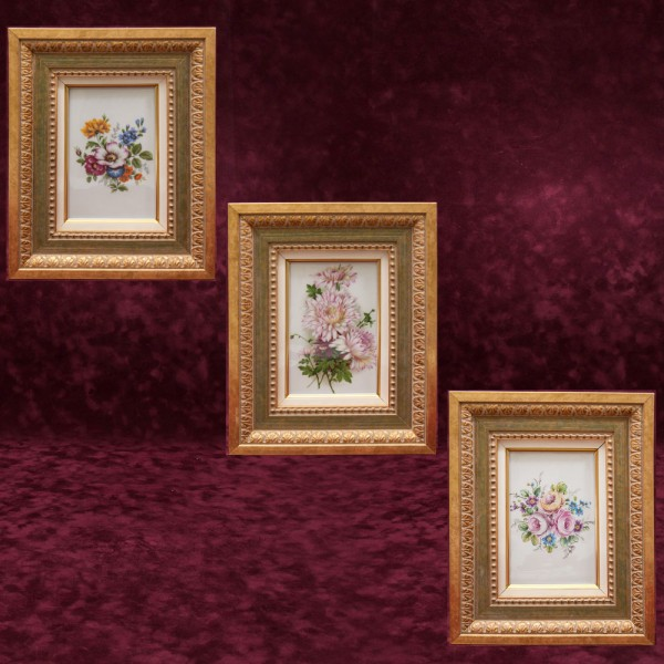 Коллекционный Набор из Трех Фарфоровых Картин - Плакеток - Панно «Летние Цветы», Lindner Германия.
