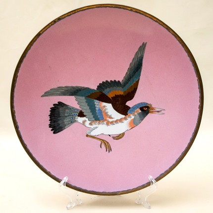 Антикварное Блюдо - Тарелка техника «Клуазоне»  D - 30 см.  Япония - конец ХIХ века.