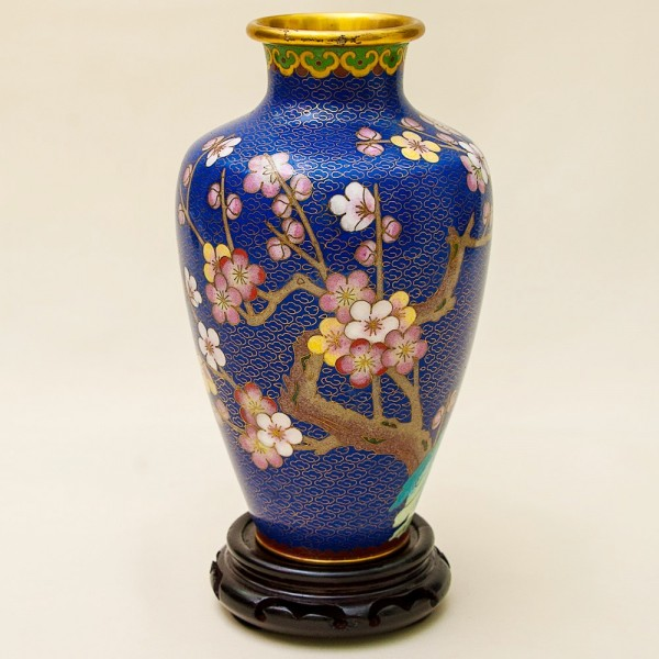 Винтажная Ваза «Древесная Орхидея» в технике «Клуазоне» Китай 50 -е годы ХХ века Н - 23 см.