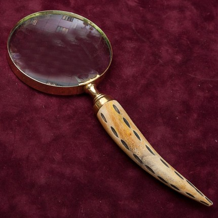 Винтажная Увеличительная Лупа в Золочёном окладе, рукоять - Пятнистый Рог, Англия.