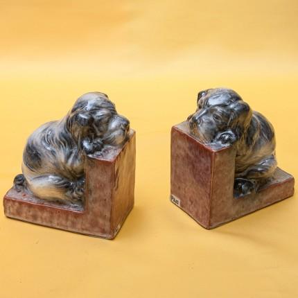 Винтажные Фарфоровые Держатели-Подставки для книг «Собаки - Щенки», Франция 60 -е годы ХХ век.