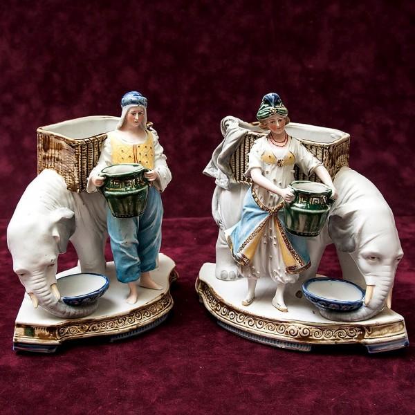 Карандашницы - Мелочёвницы на рабочмй стол «Торговцы на Слонах» Фаянс Бельгия 50 гг.