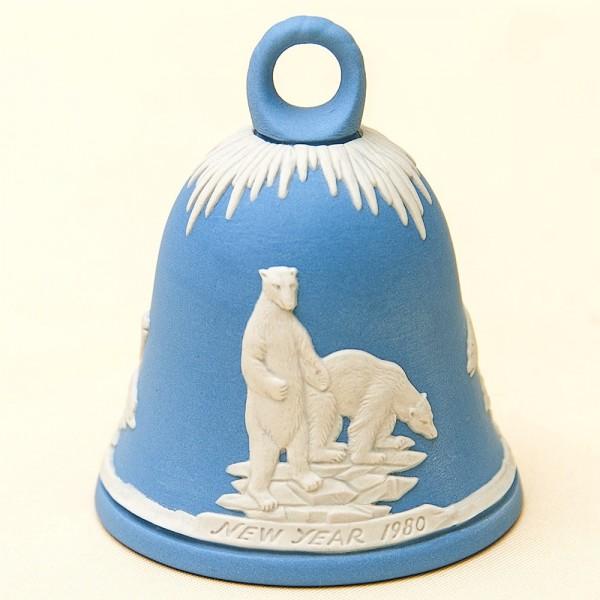 Фарфоровый Колокольчик «Белые медведи» - «Новый год -1980» ВЕДЖВУД, WEGDWOOD, Англия.
