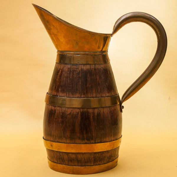 Деревянный Кувшин для Вина на 2.5 литра в Латунной обойме  Франция.
