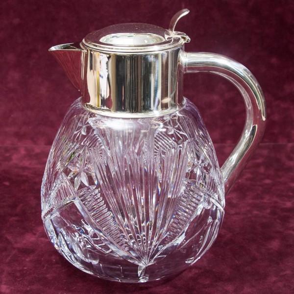 Винтажный Графин - Кувшин - Декантер на 3 литра с Колбой для льда. Германия, Стекло, Silverplate.