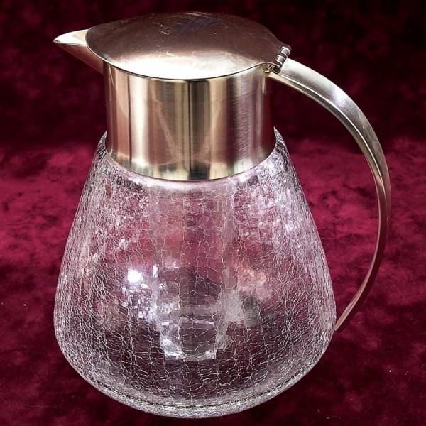 Винтажный Графин - Кувшин - Декантер на 2.5 литра с Колбой для льда. Германия, Стекло, Silverplate.