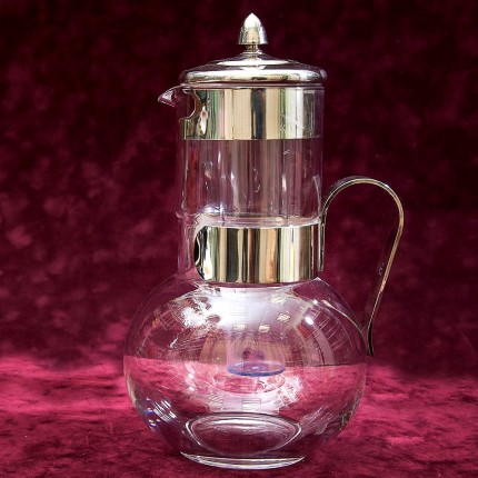 Винтажный Стеклянный Графин - Кувшин - Декантер с Колбой для льда. Англия, на 2.2 литра.