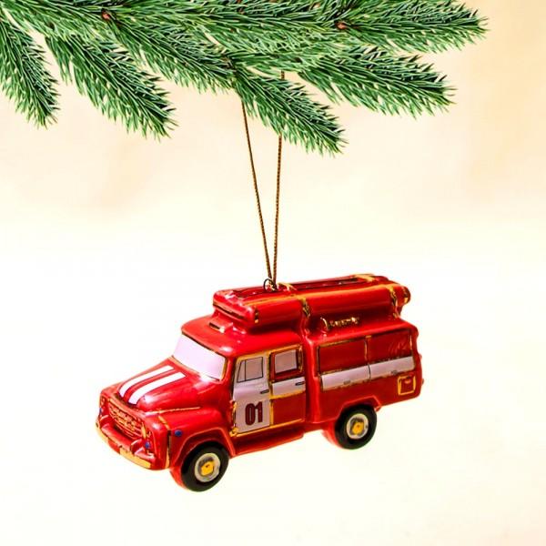 Новогодние Фарфоровые Ёлочные игрушки - Ретро Автомобиль «Пожарная Машина» - Стилизация «Мы родом из СССР».