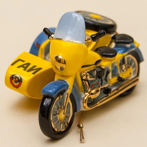 Новогодние Фарфоровые Ёлочные игрушки - Ретро Мотоцикл «ГАИ» - Стилизация «Мы родом из СССР».