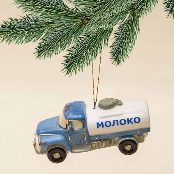 Новогодние Фарфоровые Ёлочные игрушки - Ретро Автомобиль «МОЛОКО» - Стилизация «Мы родом из СССР».