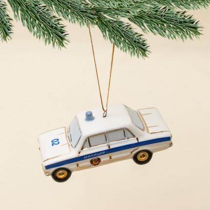 Новогодние Фарфоровые Ёлочные игрушки - Ретро Автомобиль «Милиция» - Стилизация «Мы родом из СССР».