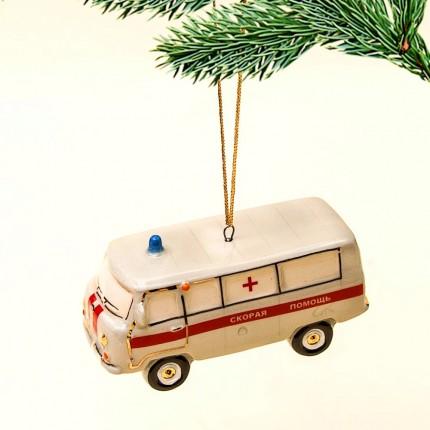 Новогодние Фарфоровые Ёлочные игрушки - «Скорая Помощь» - Стилизация «Мы родом из СССР».