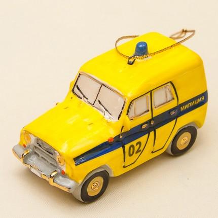 Новогодние Фарфоровые Ёлочные игрушки - «Милицейский УАЗик» - Стилизация «Мы родом из СССР».