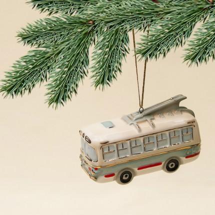 Новогодние Фарфоровые Ёлочные игрушки - «Ретро Троллейбус» - Стилизация «Мы родом из СССР».