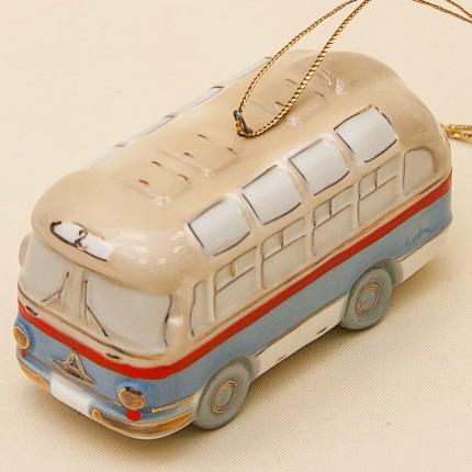 Новогодние Фарфоровые Ёлочные игрушки - «Ретро Автобус» - Стилизация «Мы родом из СССР».