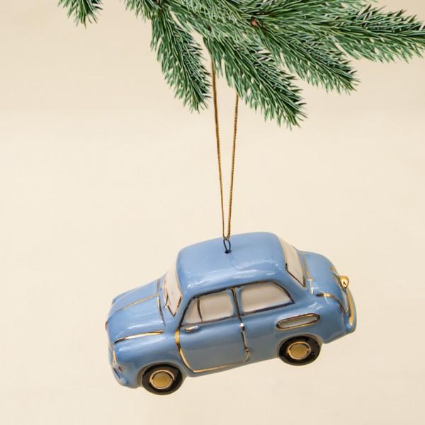 Новогодние Фарфоровые Ёлочные игрушки - «Запорожец» - Стилизация «Мы родом из СССР».