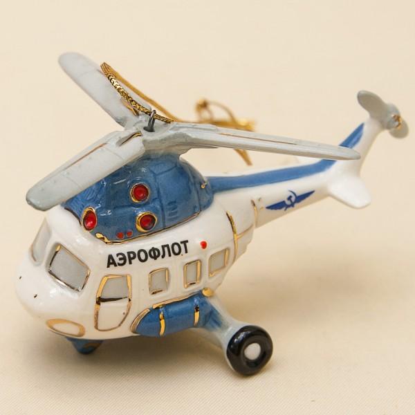 Новогодние Фарфоровые Ёлочные игрушки - «Вертолёт-Аэрофлот» - Стилизация «Мы родом из СССР».
