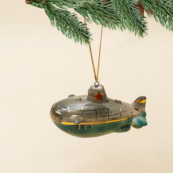 Новогодние Фарфоровые Ёлочные игрушки - «Подводная Лодка» - Стилизация «Мы родом из СССР».