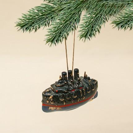 Новогодние Фарфоровые Ёлочные игрушки - «Крейсер Аврора» - Стилизация «Мы родом из СССР».