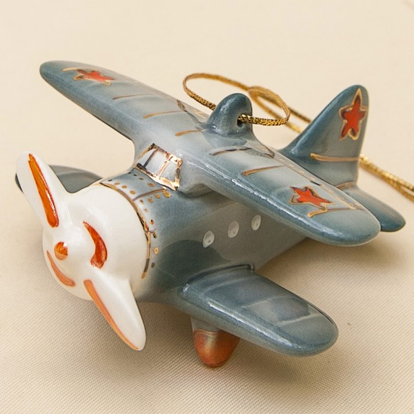 Новогодние Фарфоровые Ёлочные игрушки - «Ретро Самолёт» - Стилизация «Мы родом из СССР».