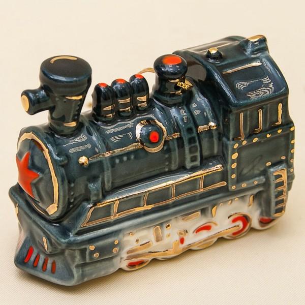 Новогодние Фарфоровые Ёлочные игрушки - «Ретро Паровоз» - Стилизация «Мы родом из СССР».