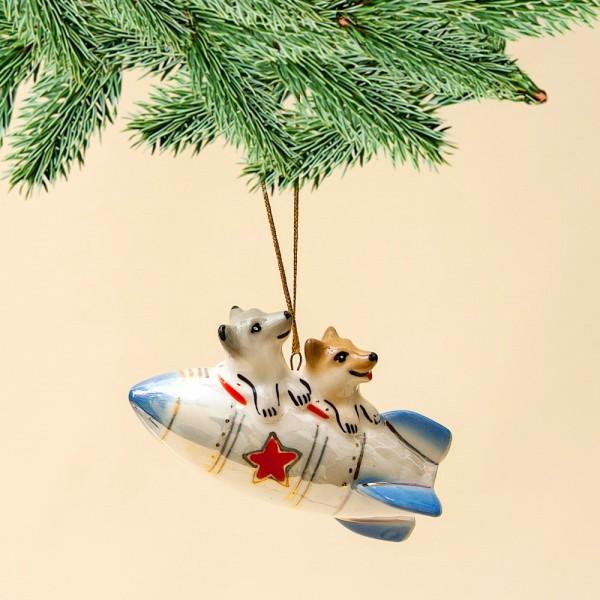 Новогодние Фарфоровые Ёлочные игрушки - «Белка и Стрелка» - Стилизация «Мы родом из СССР».