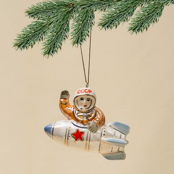 Новогодние Фарфоровые Ёлочные игрушки - «Космонавт в Ракете» - Стилизация «Мы родом из СССР».