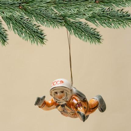 Новогодние Фарфоровые Ёлочные игрушки - «Космонавт Алексей Леонов» - «Мы родом из СССР».