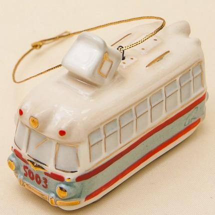 Новогодние Фарфоровые Ёлочные игрушки - «Ретро Трамвай» - Стилизация «Мы родом из СССР».