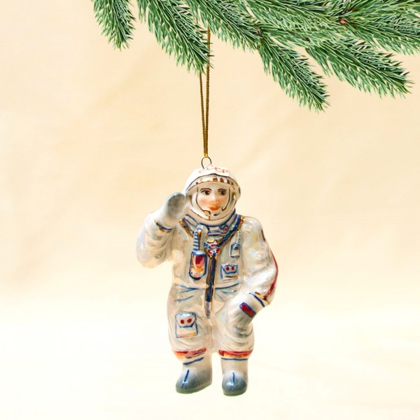 Новогодние Фарфоровые Ёлочные игрушки - «Космонавт СССР» - Стилизация «Мы родом из СССР».