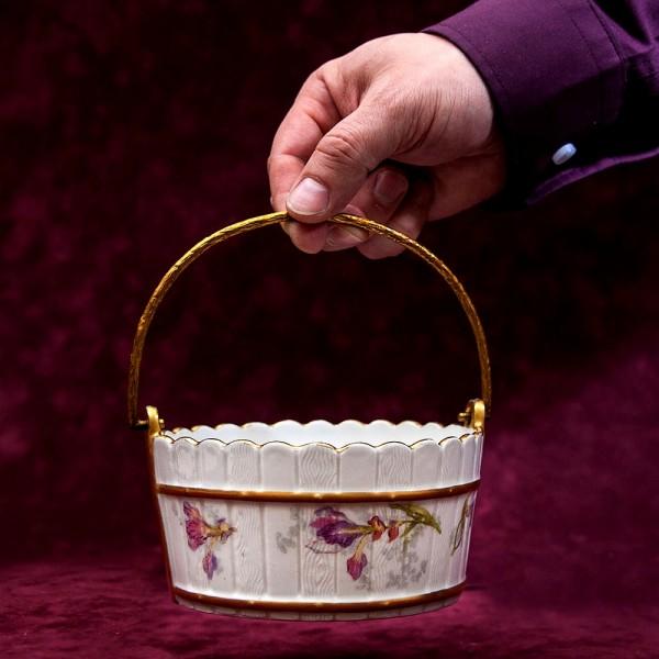 «Орешница» - Ваза - Конфетница «Цветочная Корзинка» Фарфор Лимож Limoges, Франция начало века.