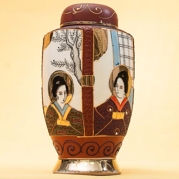 Фарфоровая Чайница - Вазочка - Баночка с крышкой Япония, 50 -е годы  ХХ века.