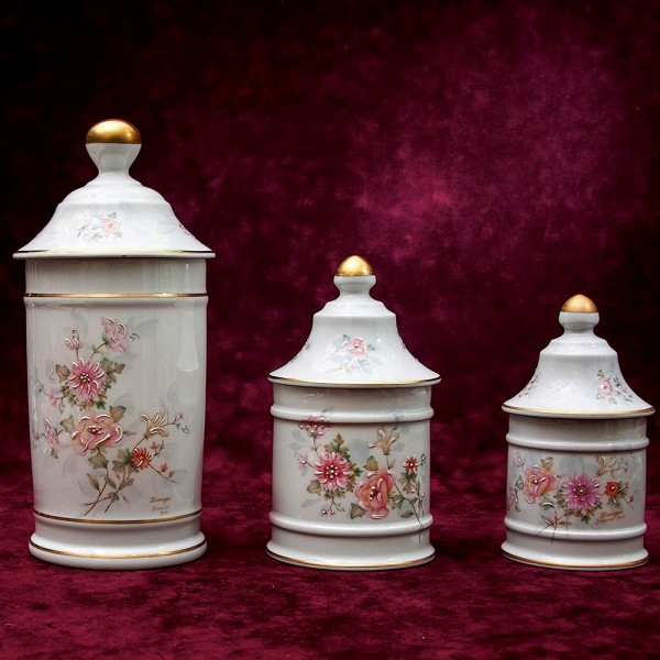 Три Банки с крышками для сыпучих продуктов из серии «JILIS» Фарфор Лимож Limoges Франция -70 гг.