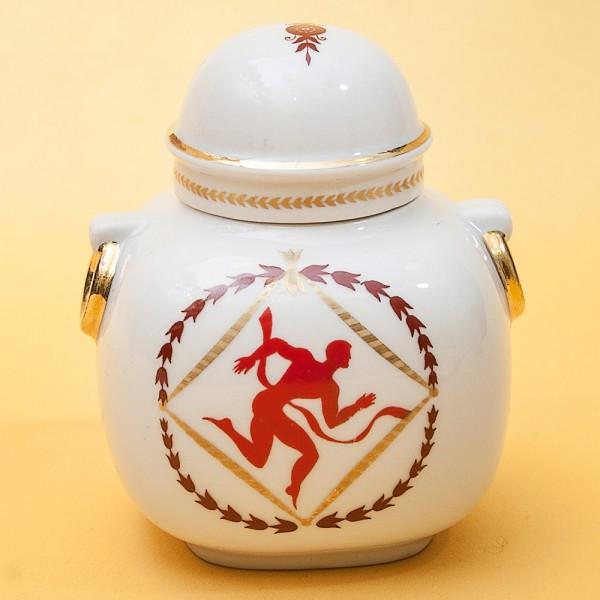 Фарфоровая Чайница «Сувенир - Олимпиада-80» - СССР - ЛФЗ - 1980 год.