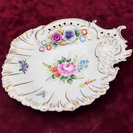 Декоративное Сервировочное Блюдо «ЦВЕТОЧНЫЙ ЛИСТ», PLAUE, Германия, середина ХХ века.